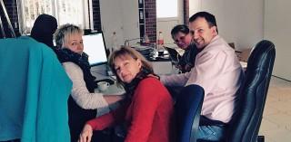 Navision-Schulung bei der Hago in Barth mit Angelika Sund, Gudrun Werner, Jutta Wachholz und Thorben Strüber.