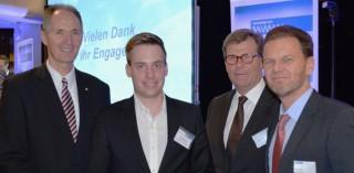 Stipendienfeier Uni Duisburg Essen (v.l.): Prof. Dr. Ulrich Radtke, Jens Wittland, Franz Wisniewski und Holger Feldker