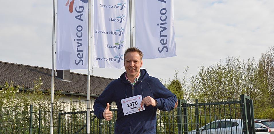 André Dölken vertritt die Servico FM beim 11. Dinslakener Sparkassen City-Lauf